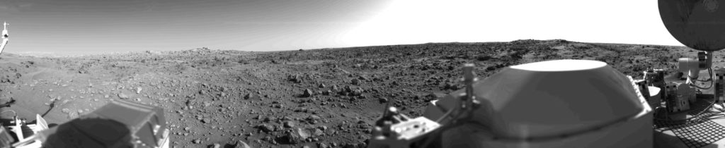 Shortly after landing on Mars, on July 20, 1976, the Viking 1 Lander returned the first panoramic view of the Martian surface. Credit: NASA JPL.
