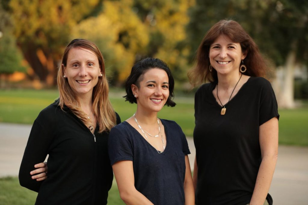 From left to right: Laura Sales, Christina Manzano-King, and Gabriela Canalizo. The team's research could force a rethinking of star formation rates in dwarf galaxies ( Stan Lim, UC Riverside)