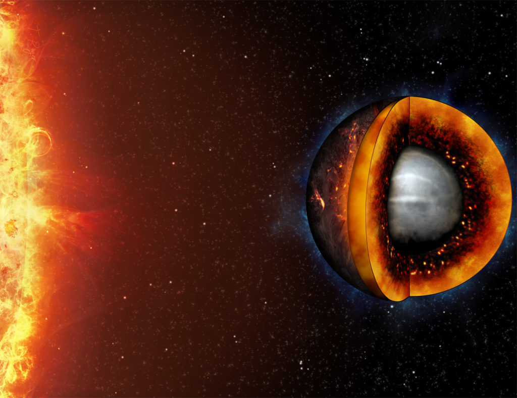 Artist's impression of the interior of a hot, molten rocky planet.
