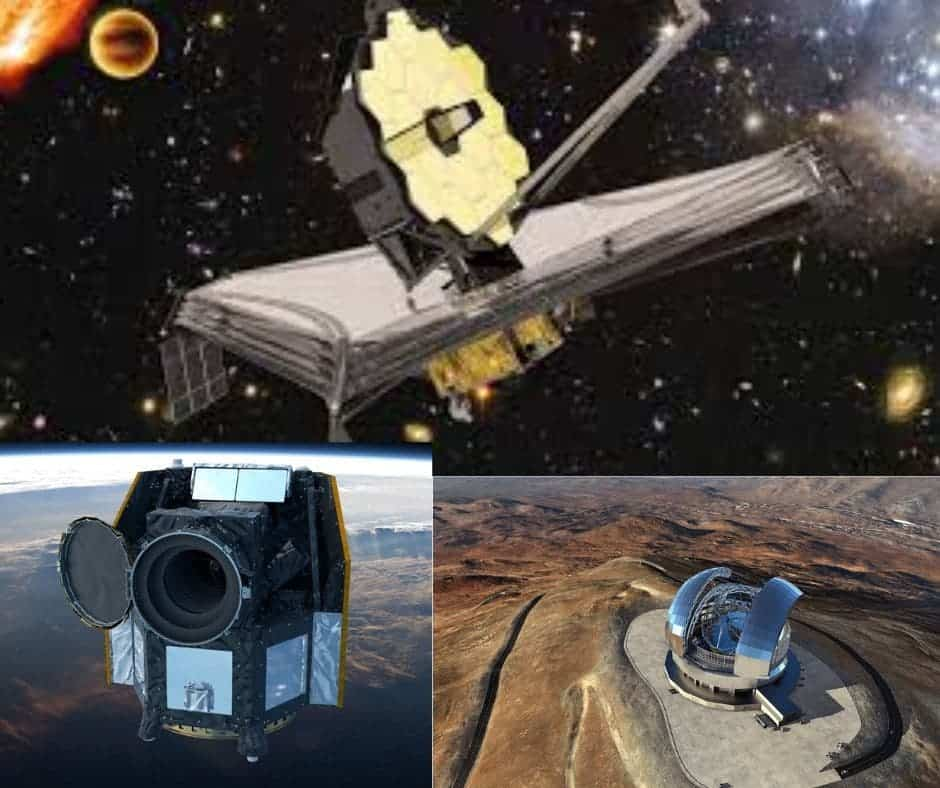 The next generation of telescopes will probe exoplanets more thoroughly than ever before. Clockwise from top: The James Webb Telescope (ESA), The Extremely Large Telescope (ESO) and the CHEOPS telescope (ESA)