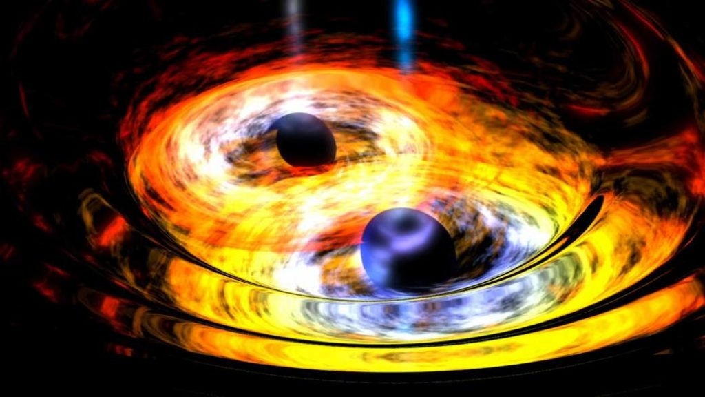 An artist's conception of two black holes entwined in a gravitational tango. NASA/JPL-Caltech/SwRI/MSSS/Christopher Go.