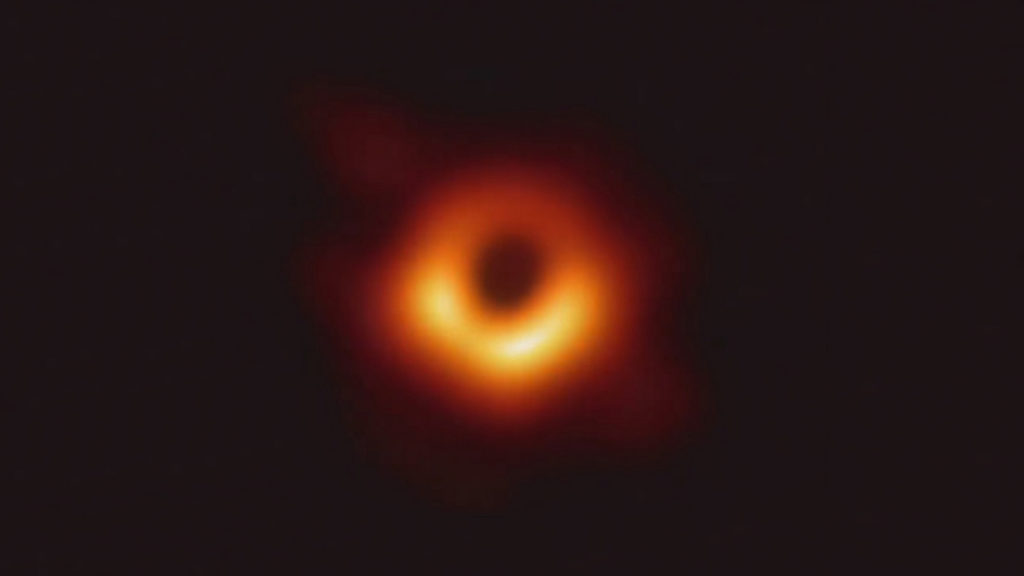The first image of a black hole. This is the supermassive black hole at the center of the galaxy M87. Event Horizon Telescope Collaboration, CC BY-SA.