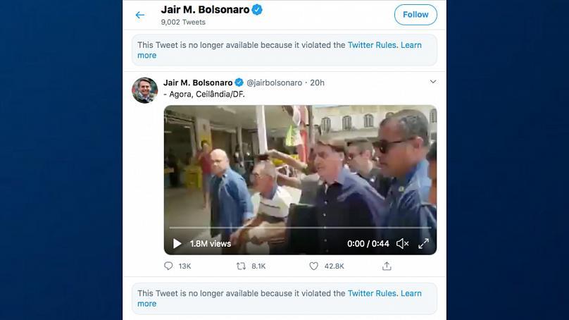 Дезинформация о коронавирусе: Twitter удаляет видео от президента Бразилии за нарушение общественного здравоохранения thumbnail