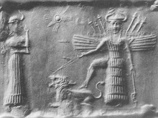 Ancient Akkadian cylindrical seal depicting Mesopotamian love goddess Inanna. Wikimedia Commons.