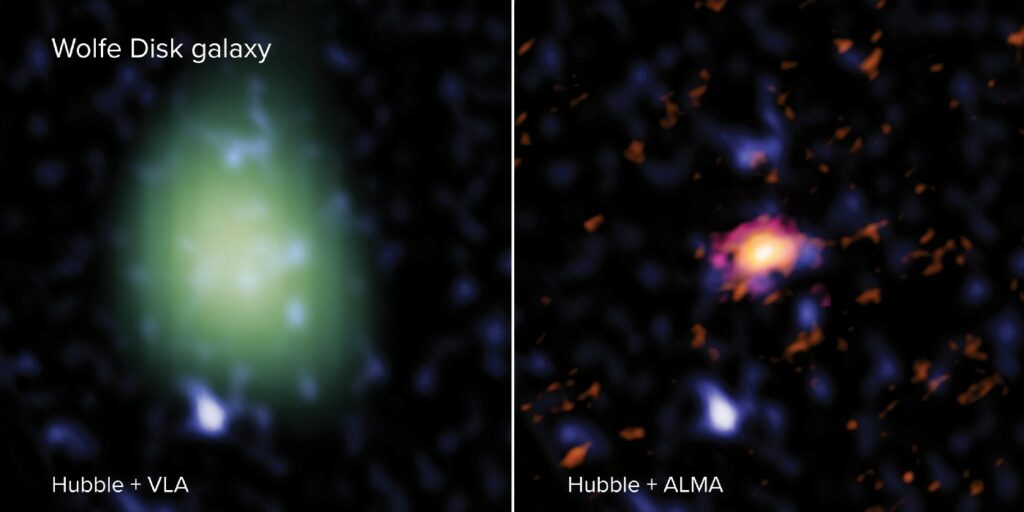 The Wolfe Disk as seen with ALMA (right — in red), VLA (left — in green) and the Hubble Space Telescope (both images — blue). In radio light, ALMA looked at the galaxy's movements and mass of atomic gas and dust and the VLA measured the amount of molecular mass. In UV-light, Hubble observed massive stars. The VLA image is made in a lower spatial resolution than the ALMA image and therefore looks larger and more pixelated. (ALMA (ESO/NAOJ/NRAO), M. Neeleman; NRAO/AUI/NSF, S. Dagnello; NASA/ESA Hubble)