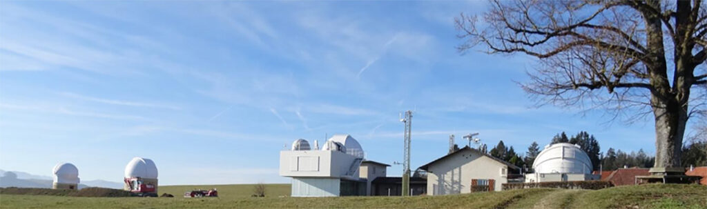 The Bern team used the geodesic laser at Optical Ground Station and Geodynamics Observatory Zimmerwald to spot space debris in the daylight. (© Universität Bern / Université de Bern / University of Bern, AIUB)