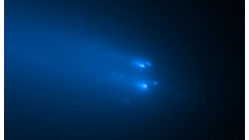 ATLAS feels the heat. The comet, discovered in December 2019 breaks up under the intense heat and gravitational influence of the Sun ( NASA/ ESA/ STScI/ D. Jewitt (UCLA))