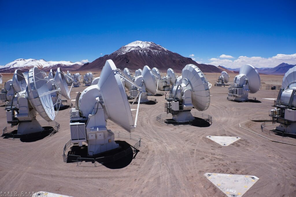An Upcoming survey conducted by the ALMA telescope array could help shed light on the motion of gas and dust in planet-forming discs such as that found in the GW Orionis system. (NSF/NRAO)