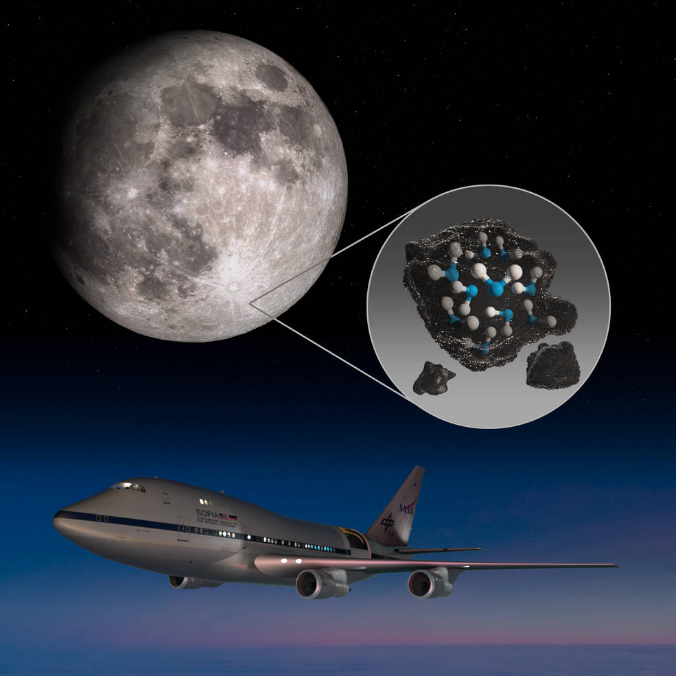 This illustration highlights the Moon's Clavius Crater with an illustration depicting water trapped in the lunar soil there, along with an image of NASA's Stratospheric Observatory for Infrared Astronomy (SOFIA) that found sunlit lunar water. (Credits: NASA)