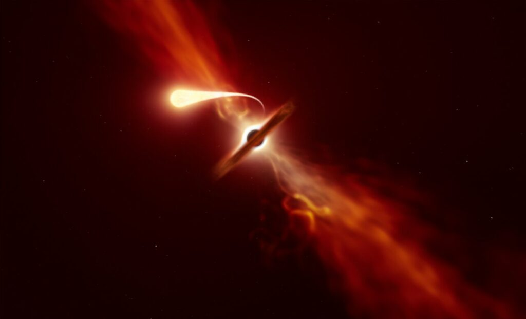 Artist's impression of star being tidally disrupted by a supermassive black hole