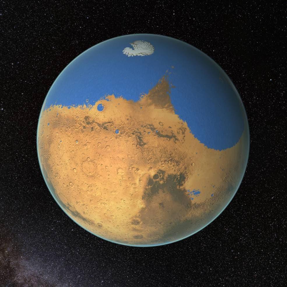 Les scientifiques de la NASA ont déterminé que l'océan primitif sur Mars contenait plus d'eau que l'océan Arctique de la Terre et que la planète rouge avait perdu 87% de cette eau dans l'espace. Crédit: NASA / GSFC