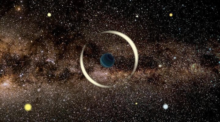 An artist's impression of a gravitational microlensing event by a free-floating planet. (Jan Skowron / Astronomical Observatory, University of Warsaw)