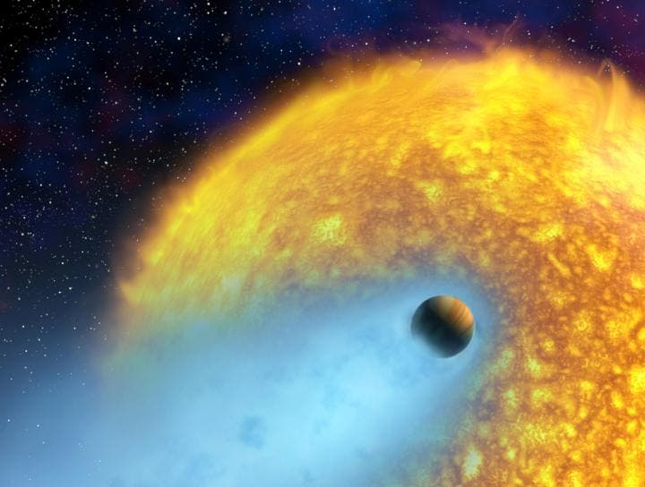 An artist's conception of HD 209458 b, an exoplanet whose atmosphere is being torn off at more than 35,000 km/hour by the radiation of its close-by parent star. This hot Jupiter was the first alien world discovered via the transit method, and the first planet to have its atmosphere studied. [NASA/European Space Agency/Alfred Vidal-Madjar (Institut d'Astrophysique de Paris, CNRS)]