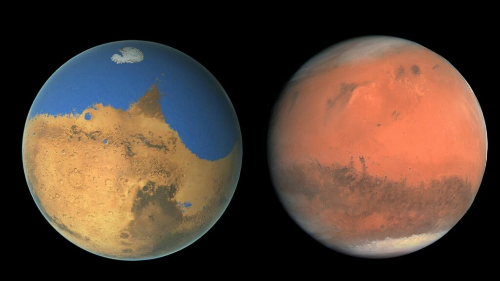 Mars then and Now. The Red Planet has been stripped of water for billions of years, but the main mechanism of water loss is different now than it was a billion years ago (NASA)