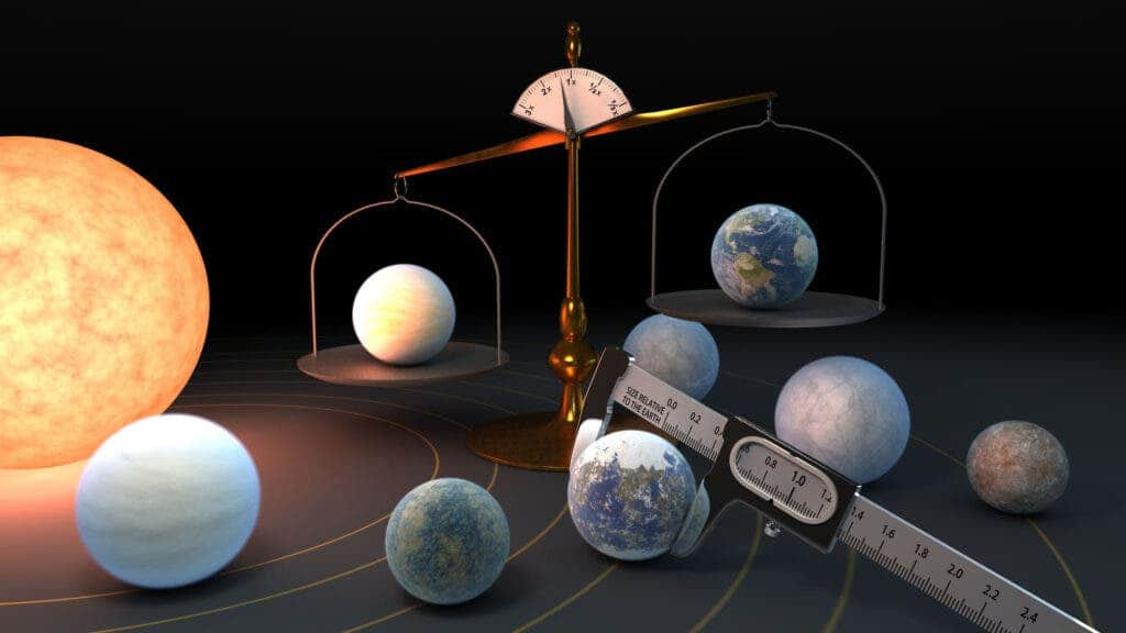 An artist's view of the TRAPPIST-1 system. The TRAPPIST-1 star is home to the largest batch of roughly Earth-size planets ever found outside our solar system. An international study involving researchers from the Universities of Bern, Geneva and Zurich now shows that the exoplanets have remarkably similar densities, which provides clues about their composition (NASA/JPL-Caltech)