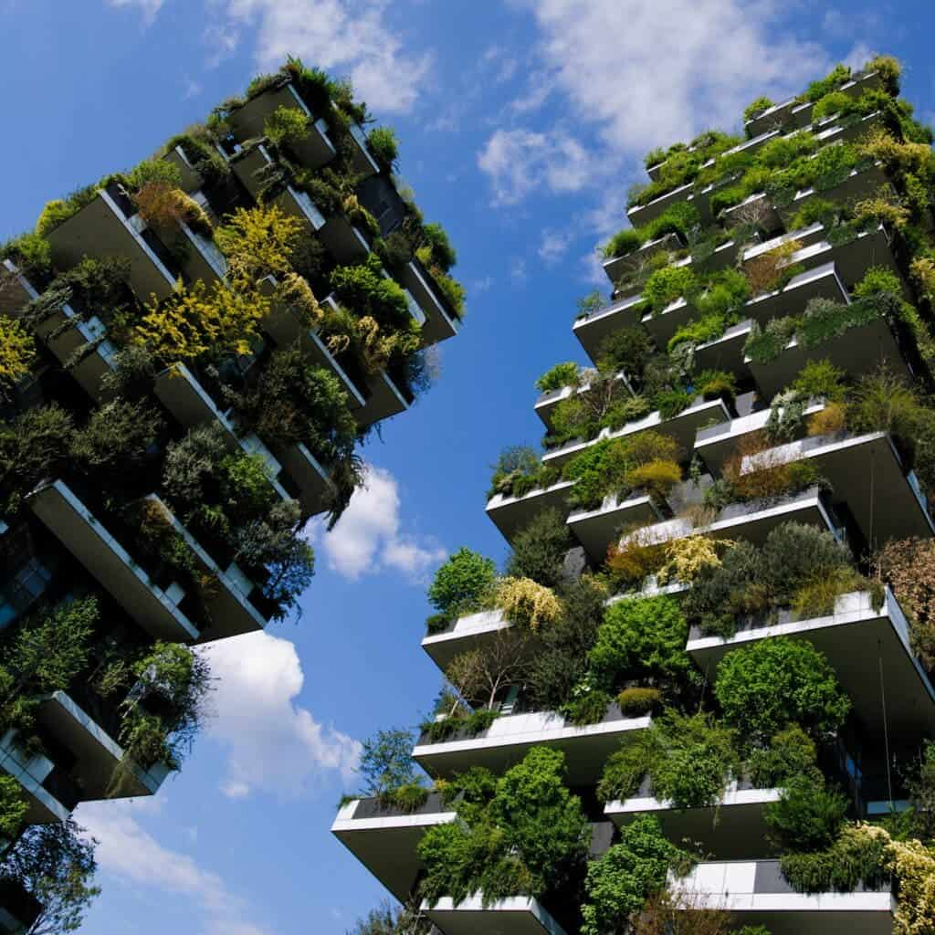 The Bosco Verticale In Milan in spring, West side. Credit: Wikimedia Commons.