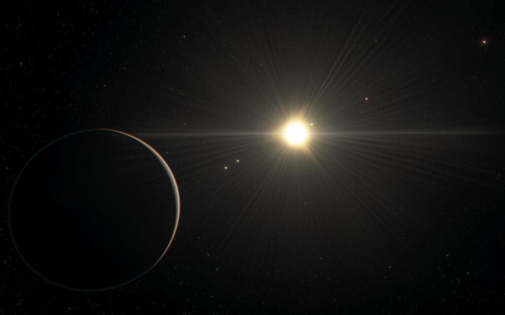 This artist's impression shows the view from the planet in the TOI-178 system found orbiting furthest from the star. New research by Adrien Leleu and his colleagues with several telescopes, including ESO's Very Large Telescope, has revealed that the system boasts six exoplanets and that all but the one closest to the star are locked in a rare rhythm as they move in their orbits. But while the orbital motion in this system is in harmony, the physical properties of the planets are more disorderly, with significant variations in density from planet to planet. This contrast challenges astronomers' understanding of how planets form and evolve. This artist's impression is based on the known physical parameters for the planets and the star seen, and uses a vast database of objects in the Universe. (ESO/L. Calçada/spaceengine.org)
