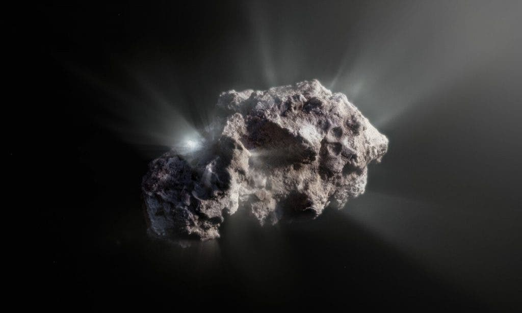This image shows an artist's impression of what the surface of the 2I/Borisov comet might look like.    2I/Borisov was a visitor from another planetary system that passed by our Sun in 2019, allowing astronomers a unique view of an interstellar comet. While telescopes on Earth and in space captured images of this comet, we don't have any close-up observations of 2I/Borisov. It is therefore up to artists to create their own ideas of what the comet's surface might look like, based on the scientific information we have about it.(SO/M. Kormesser)