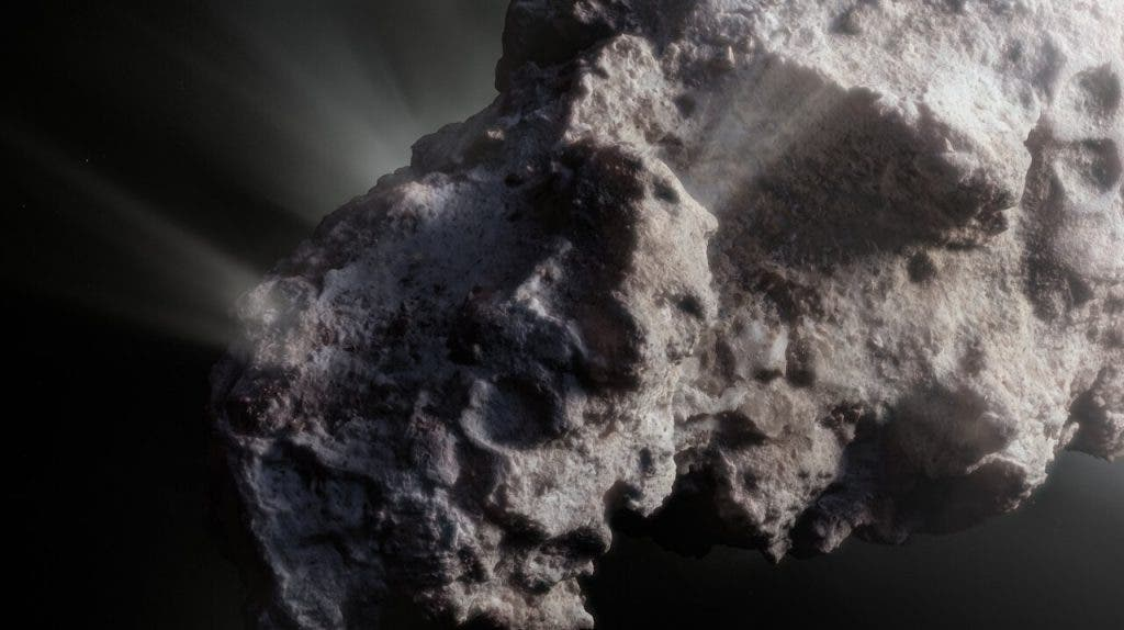 This image shows an artist's close-up view of what the surface of the comet might look like. 2I/Borisov was a visitor from another planetary system that passed by our Sun in 2019, allowing astronomers a unique view of an interstellar comet. While telescopes on Earth and in space captured images of this comet, we don't have any close-up observations of 2I/Borisov. It is therefore up to artists to create their own ideas of what the comet's surface might look like, based on the scientific information we have about it.(ESO/M. Kormesser)