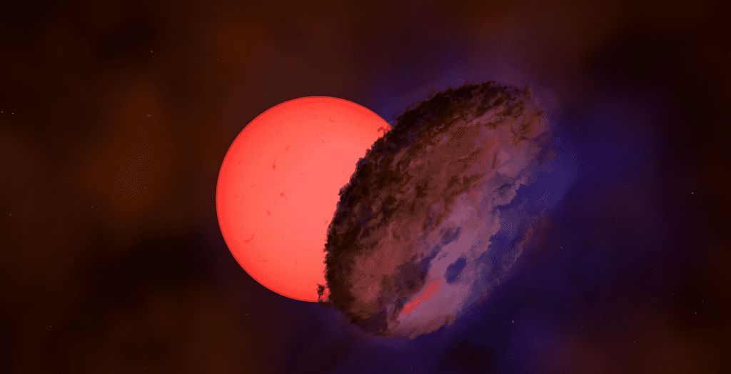Astronomers have spotted a giant 'blinking' star towards the centre of the Milky Way, more than 25,000 light years away. An international team of astronomers observed the star, VVV-WIT-08, decreasing in brightness by a factor of 30, so that it nearly disappeared from the sky. While many stars change in brightness because they pulsate or are eclipsed by another star in a binary system, it's exceptionally rare for a star to become fainter over a period of several months and then brighten again. (Amanda Smith, University of Cambridge)