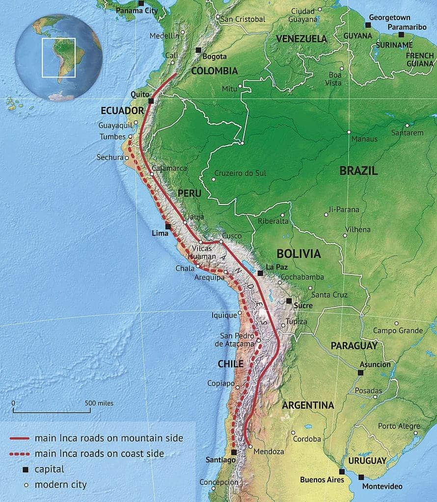 Map of Inca roads.